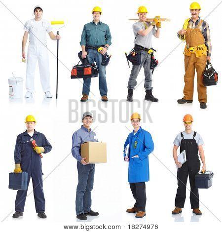 Pessoas de trabalhadores de prestadores de serviços industriais. Isolado sobre o fundo branco