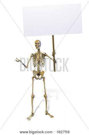 Esqueleto com sinal em branco