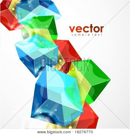 Glass cubes. Vector geometric background. Eps10