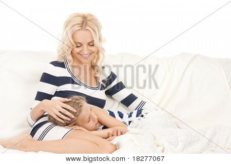 bright picture of happy mother and sleeping girl.