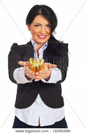 Happy Business Woman  With Piggy Bank