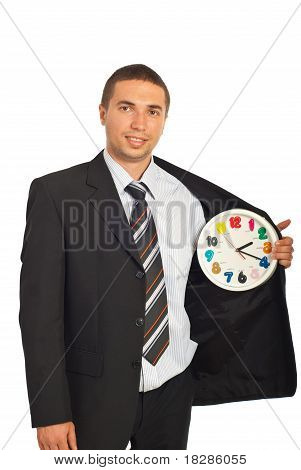 Business Man With Clock In Interior Of Jacket