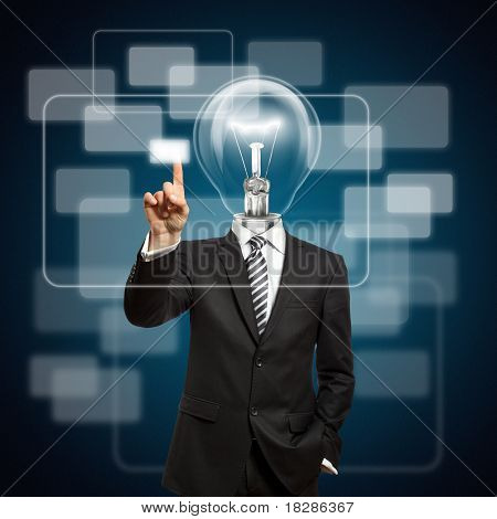 Businessman With Lamp-head Push The Button