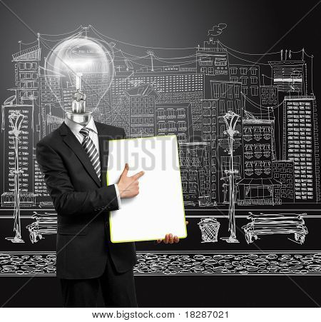 Lamp Head Businessman With Empty Write Board