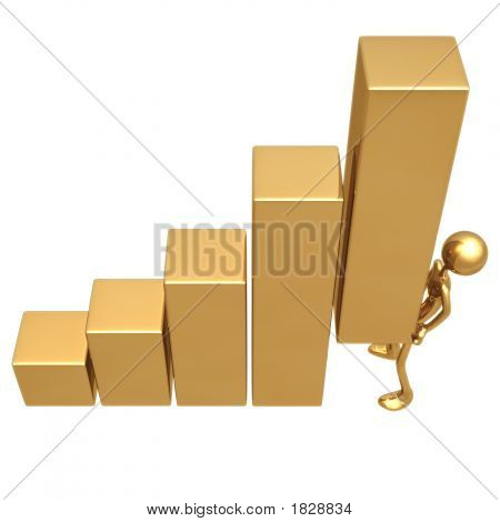 Lifting The Bar Golden Business Bar Graph Statistics