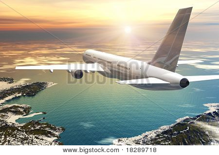 Scenic airliner flight in sunset