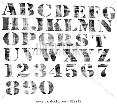 Degradierten Alphabet