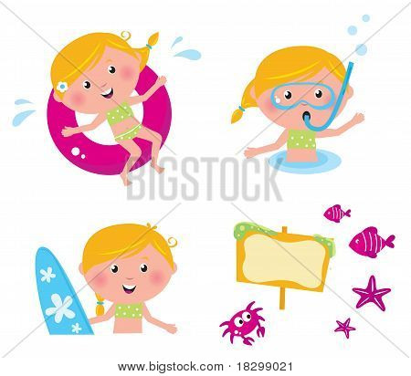 Vector Collection Summer Icons, Swimming Kids Isolated On White.