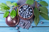 Freshly blueberries in metal bowl. Juicy and fresh blueberries with green leaves on blue wooden tabl poster