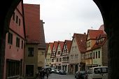 Ancient Red Roof Houses, Rothenburg Ob Der Tauber, Medieval Old Town In Germany poster