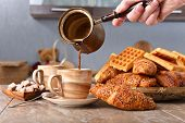 Постер, плакат: Breakfast With Black Coffee Freshly Baked Waffles And Croissants
