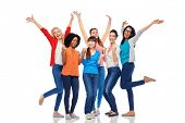 diversity, race, ethnicity and people concept - international group of happy smiling different women poster