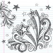 Hand-Drawn Back to School Starbursts and Stars Sketchy Notebook Doodles Vector Illustration Design E