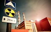picture of radium  - Nuclear Power Plant with Radioactivity Sign - JPG