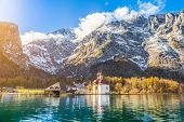 Lake Königssee With St. Bartholomä Pilgrimage Church In Fall, Bavaria, Germany poster