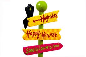 foto of hayride  - halloween attraction sign - JPG