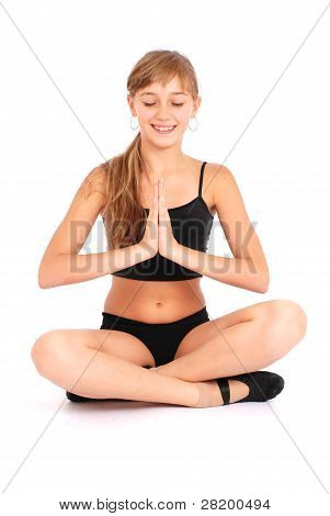Young Girl Making Yoga Exercises