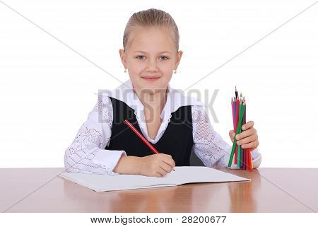 Young Girl With Pencil Ready To Learn