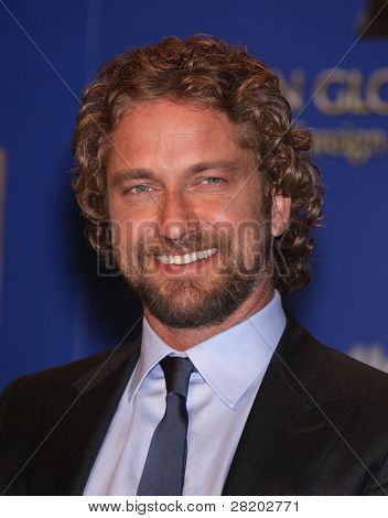 LOS ANGELES - DEC 14:  Gerard Butler announcing the Golden Globe Awards 2012 Nominations  on December 14, 2011 in Beverly Hills, CA.
