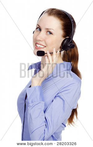 Support phone operator in headset, isolated on white background