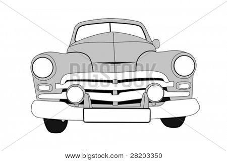 retro car on white background, vector illustration