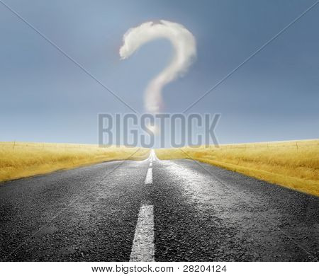 Cloud over a road forming a question mark