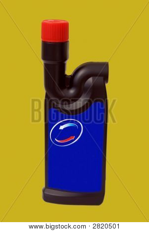 Container Of Drain Cleaner. Bottle Of Sink & Pipe Unblocker