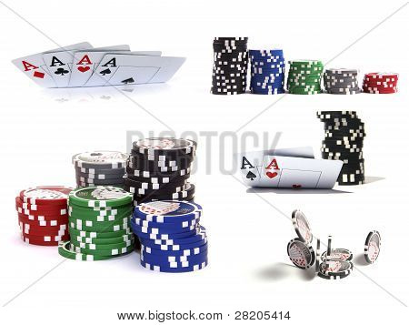 Set Of Casino Items: Chips And Cards