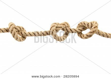 Rope With Three Knots Isolated On White