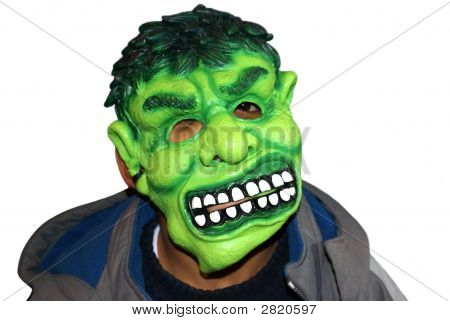 A Child Wearing Mask In Halloween