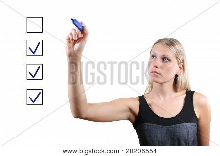 Woman With Blue Pen Mark The Check Boxes