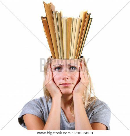 Knowledge Concept. Head Full Of Books