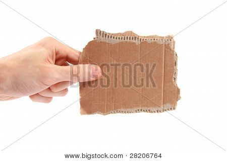 Hand Hold Piece Of Cardboard - Room For Your Text