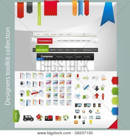 Caja de herramientas de diseño incluyendo los iconos y menús de navegación