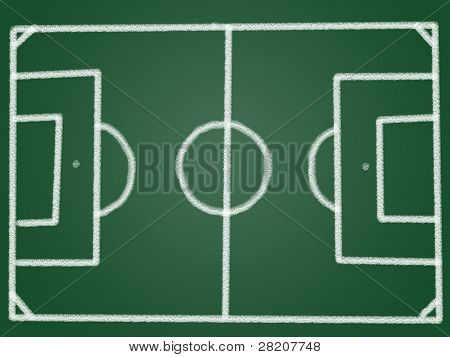 Tactic Football Field On Blackboard
