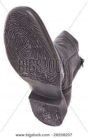 Bottom Of Shoe. Sole As A Fingerprint