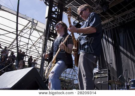 CLARK, NJ - SEPTEMBER 11: Lead singer Dave Pirner and lead guitarist Dan Murphy of the band Soul Asylum perform at the Union County Music Fest on September 11, 2010 in Clark, NJ.