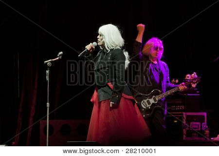 CLARK, NJ - SEPT 17: Singer Deborah Harry and Chris Stein of the band Blondie perform at the Union County Music Fest on September 17, 2011 in Clark, NJ. Tour beings for new release of Panic of Girls.