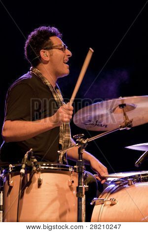 CLARK, NJ - SEPT 16: Drummer Ramy Antoun performs at the Union County Music Fest on September 16, 2011 in Clark, NJ. He is part of Ed Kowalczyk's new band lineup for the 2011 tour.