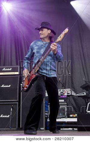 CLARK, NJ - SEPT 17: Bass player Todd Ronning performs with The Paul Rodgers Band at the Union County Music Fest on September 17, 2011 in Clark, NJ.