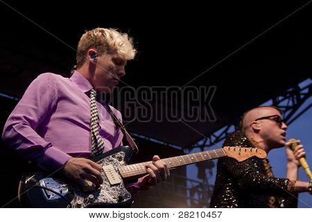 CLARK, NJ - SEPT 17: Guitarist Chris Allen and lead singer Tyler Glenn of the band Neon Trees performs at the Union County Music Fest on September 17, 2011 in Clark, NJ.
