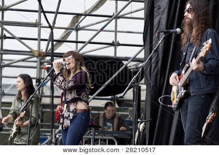 CLARK, NJ - SEPT 17: The band Nicole Atkins & The Black Sea perform at the Union County Music Fest on September 17, 2011 in Clark, NJ.
