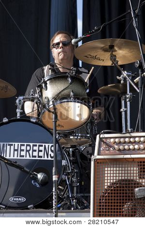 CLARK, NJ - SEPT 18: Drummer Dennis Diken of the band The Smithereens performs at the Union County Music Fest on September 18, 2011 in Clark, NJ.
