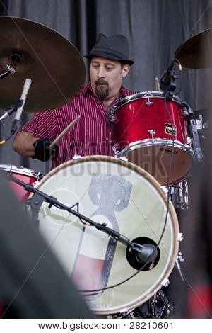 CLARK, NJ - SEPT 18:  Drummer for Southside Johnny & The Asbury Jukes performs at the Union County Music Fest on September 18, 2011 in Clark, NJ.