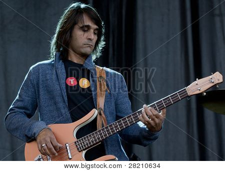 CLARK, NJ - SEPT 18:  Bass player for Southside Johnny & The Asbury Jukes performs at the Union County Music Fest on September 18, 2011 in Clark, NJ.