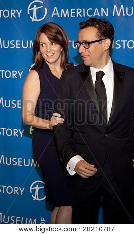 NEW YORK - NOV 10: Tina Fey and Fred Armisen joke at the American Museum of Natural History's  2011 Gala on November 10, 2011 in New York City, NY.