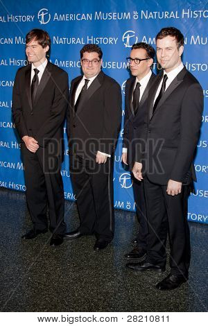 NEW YORK - NOV 10: SNL cast members Bill Hader, Bobby Moynihan, Fred Armisen, and Taran Killam attend the American Museum of Natural History's  2011 Gala on November 10, 2011 in New York City, NY.