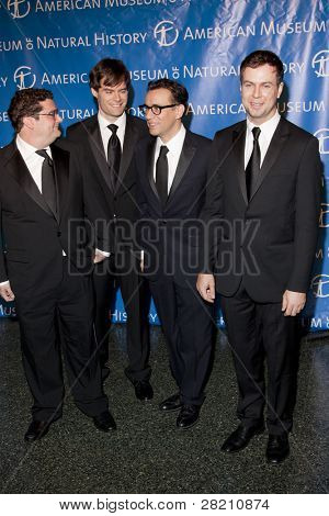 NEW YORK - NOV 10: SNL cast members Bobby Moynihan, Bill Hader, Fred Armisen, and Taran Killam attend the American Museum of Natural History's  2011 Gala on November 10, 2011 in New York City, NY.