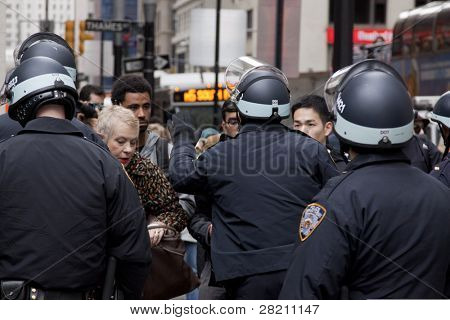 NEW YORK- NOV 17: Police requiring workers and residents to provide proper identification at checkpoint on Broadway during Occupy Wall Street 'Day of Disruption' on November 17, 2011 in New York City.