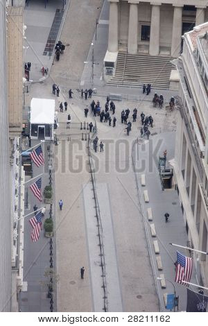 NEW YORK - NOV 17: An aerial view of Broad Street and the entrance to the NY Stock Exchange on November 17, 2011 in New York City, NY. Police temporarily cleared the area after protesters impeded traffic.